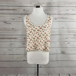 FOREVER 21 Pink Floral Lace Crop Top - Size M